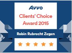 Avvo Client's Choice Award 2015 Robin Rubrecht Zegen